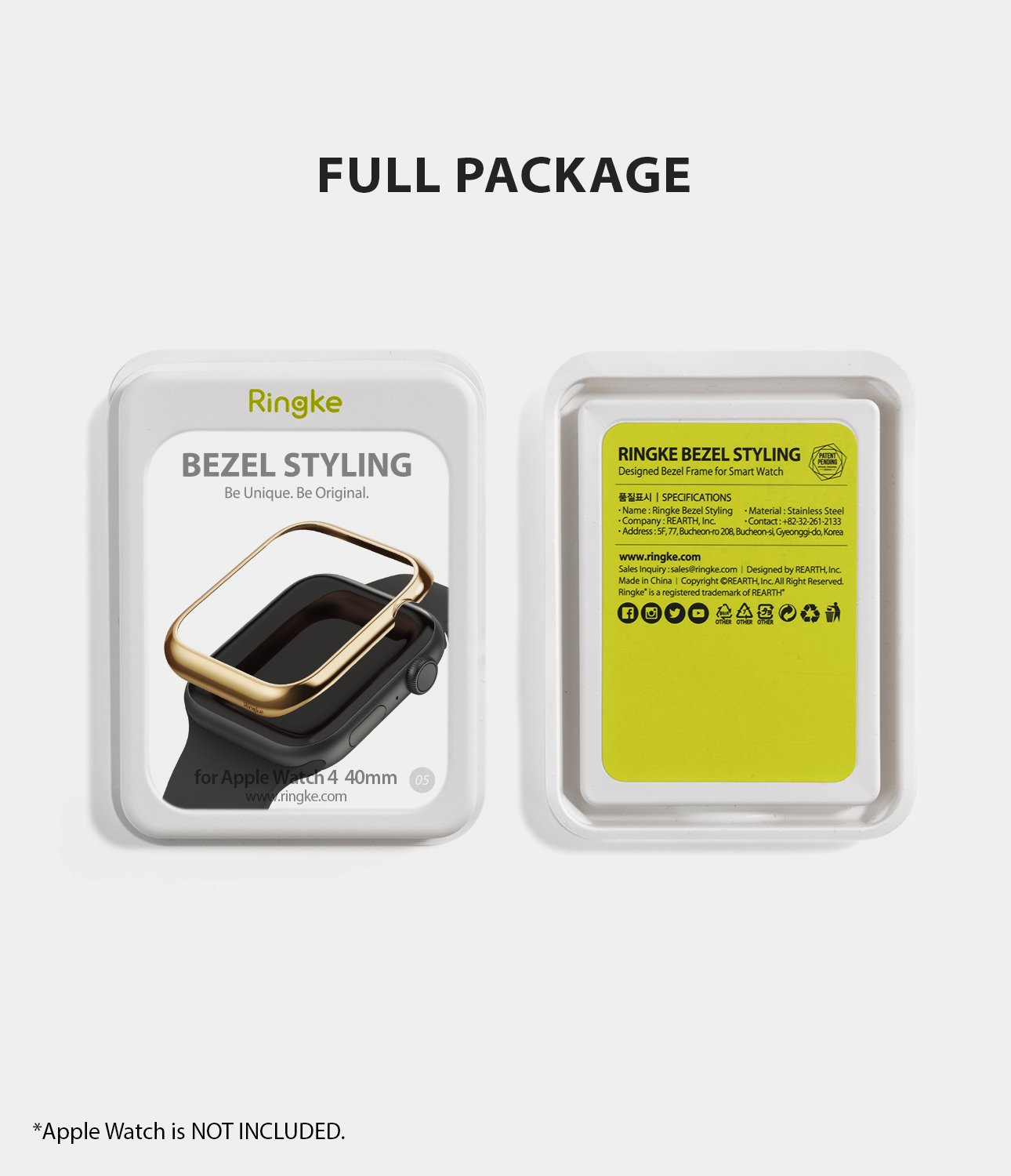 ringke bezel styling 40-05 glossy gold stainless steel on apple watch series 6 / 5 / 4 / SE 40mm full package