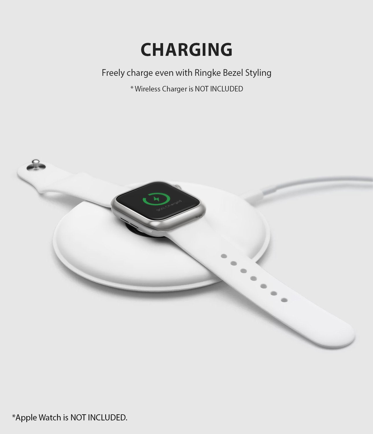 ringke bezel styling 40-09 matte silver stainless steel on apple watch series 6 / 5 / 4 / SE 40mm wireless charging