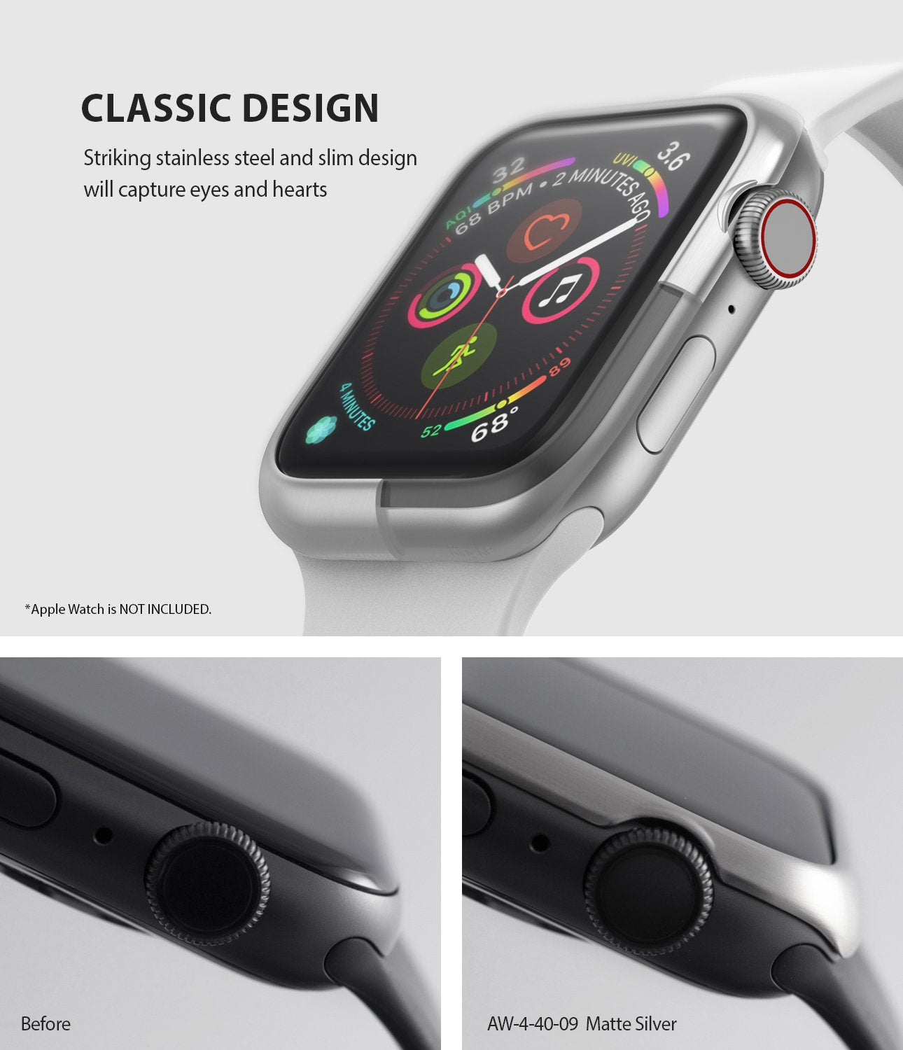 ringke bezel styling 40-09 matte silver stainless steel on apple watch series 6 / 5 / 4 / SE 40mm classic design