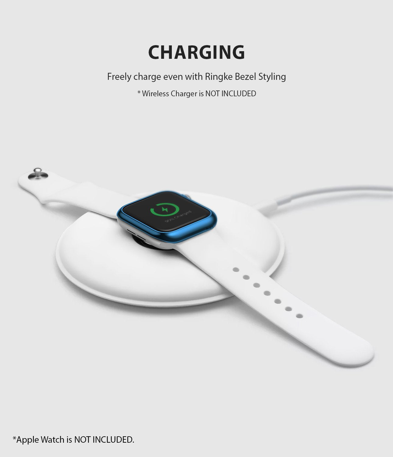ringke bezel styling 40-04 glossy blue stainless steel on apple watch series 5 / 4 40mm wireless charging