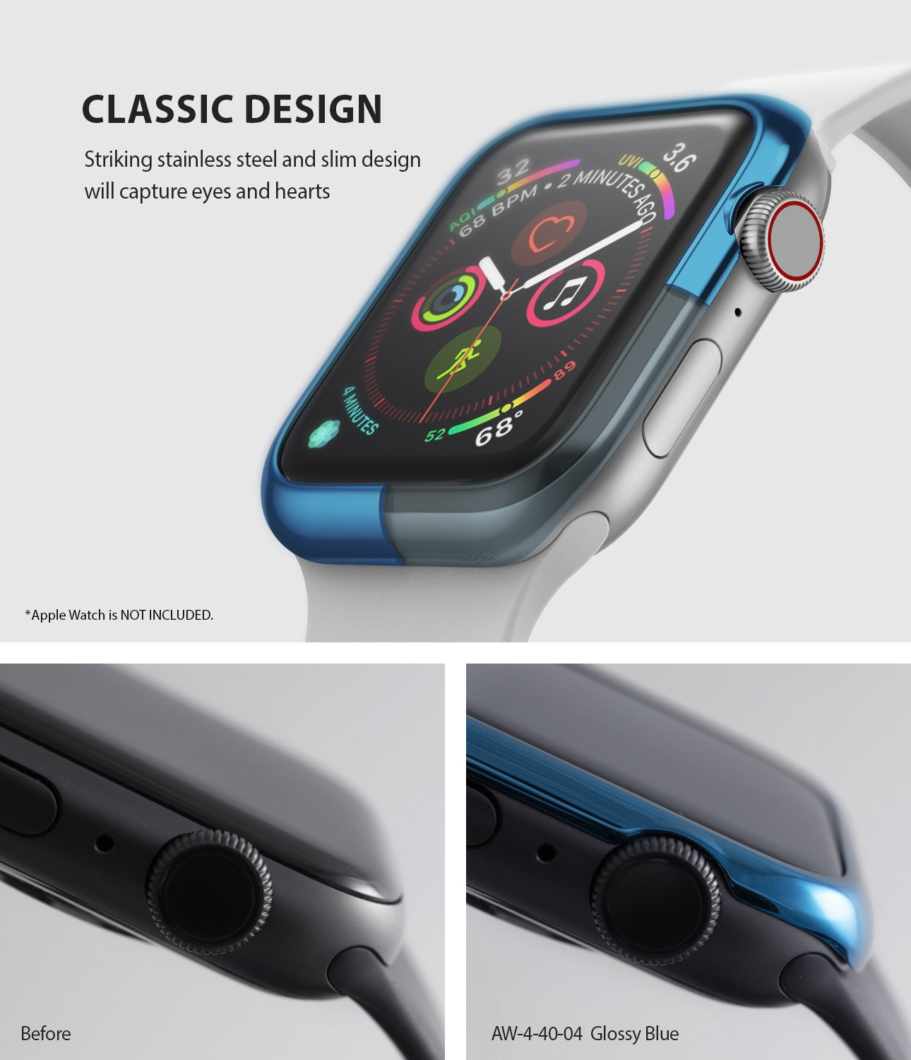ringke bezel styling 40-04 glossy blue stainless steel on apple watch series 6 / 5 / 4 / SE 40mm classic design