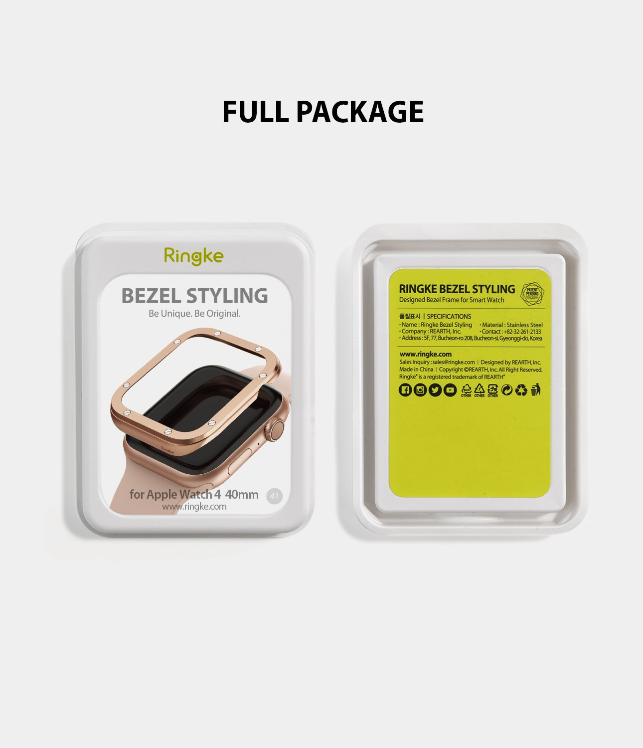 ringke bezel styling 40-41 stainless steel on apple watch series 5 / 4 40mm full package