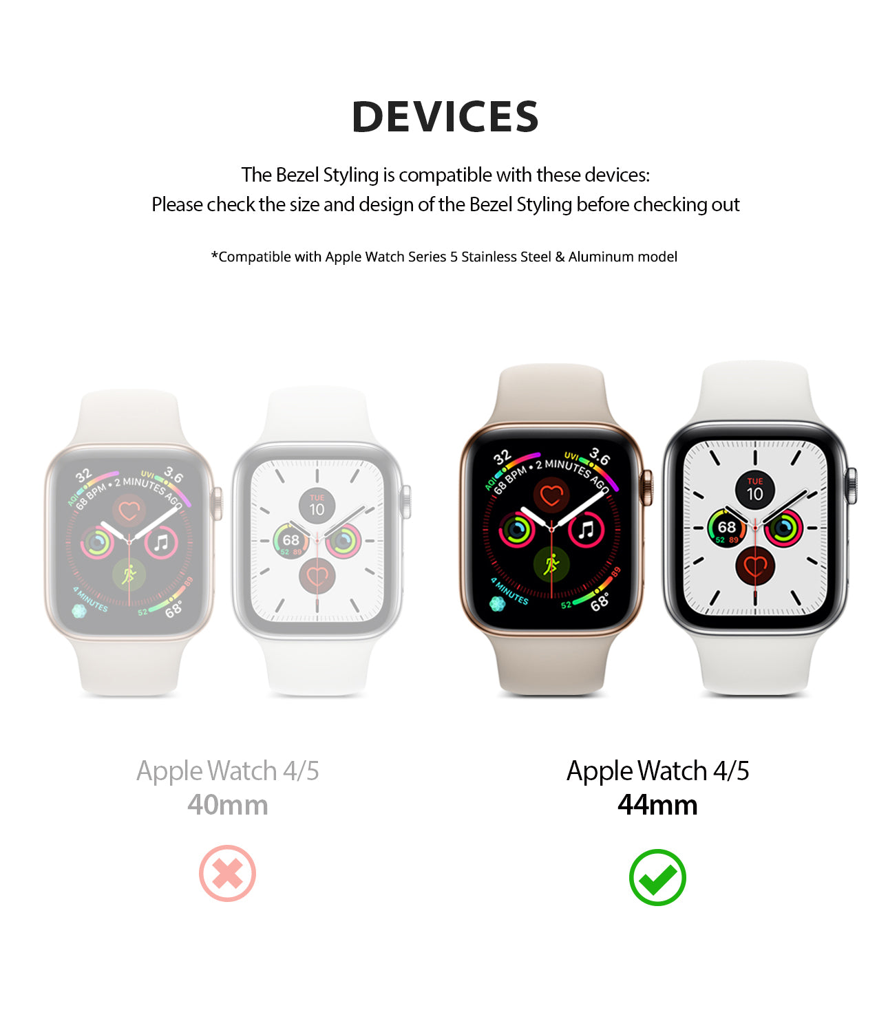 apple watch 4 44mm case ringke bezel styling stainless steel frame cover 44-04 simple installation