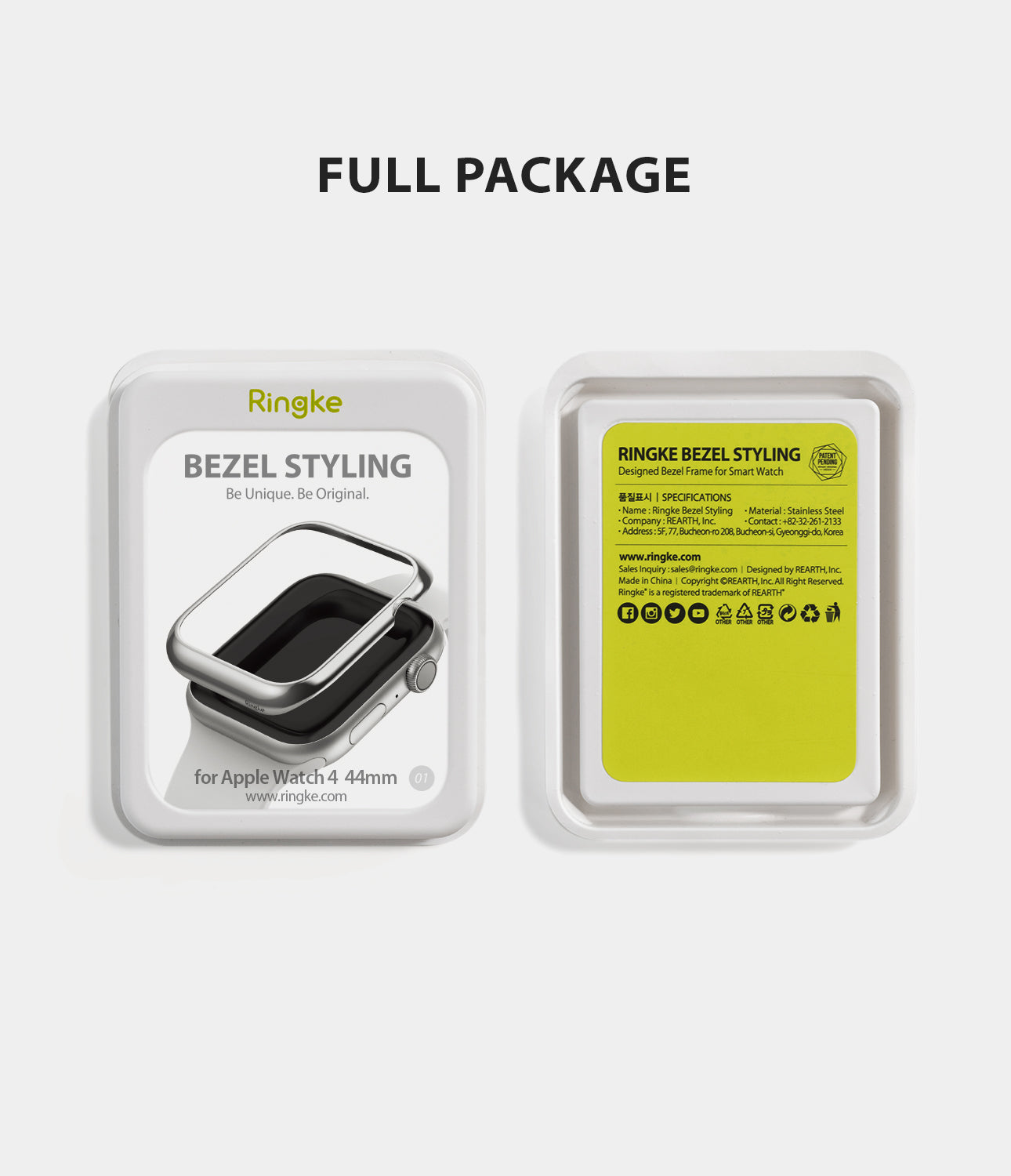 apple watch 4 44mm case ringke bezel styling stainless steel frame cover 44-01 full package