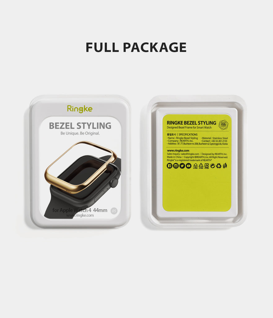 apple watch 4 44mm case ringke bezel styling stainless steel frame cover 44-05 full package