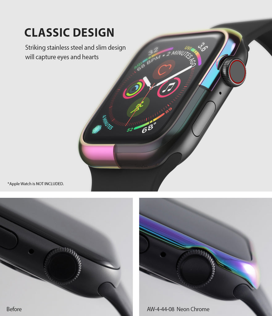apple watch 4 44mm case ringke bezel styling stainless steel frame cover 44-08 classic design