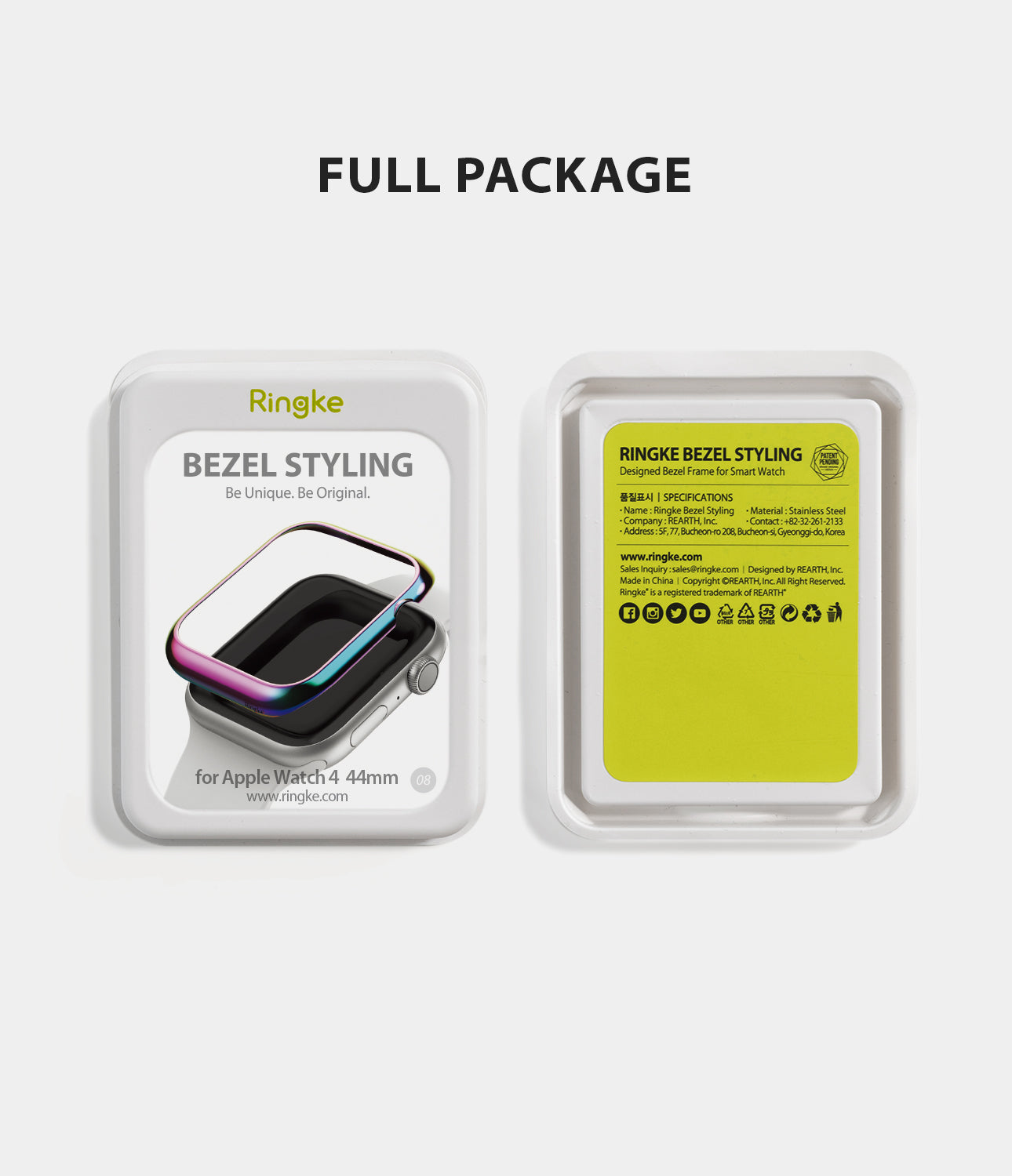 apple watch 4 44mm case ringke bezel styling stainless steel frame cover 44-08 full package