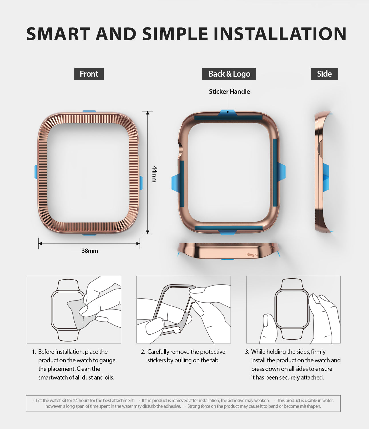 apple watch 4 44mm case ringke bezel styling stainless steel frame cover 44-43 simple installation