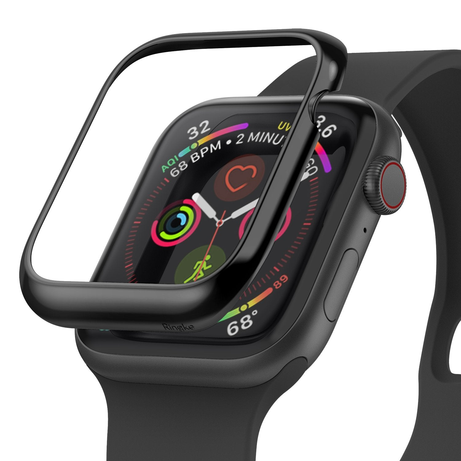 ringke bezel styling 40-03 glossy black stainless steel on apple watch series 6 / 5 / 4 / SE 40mm