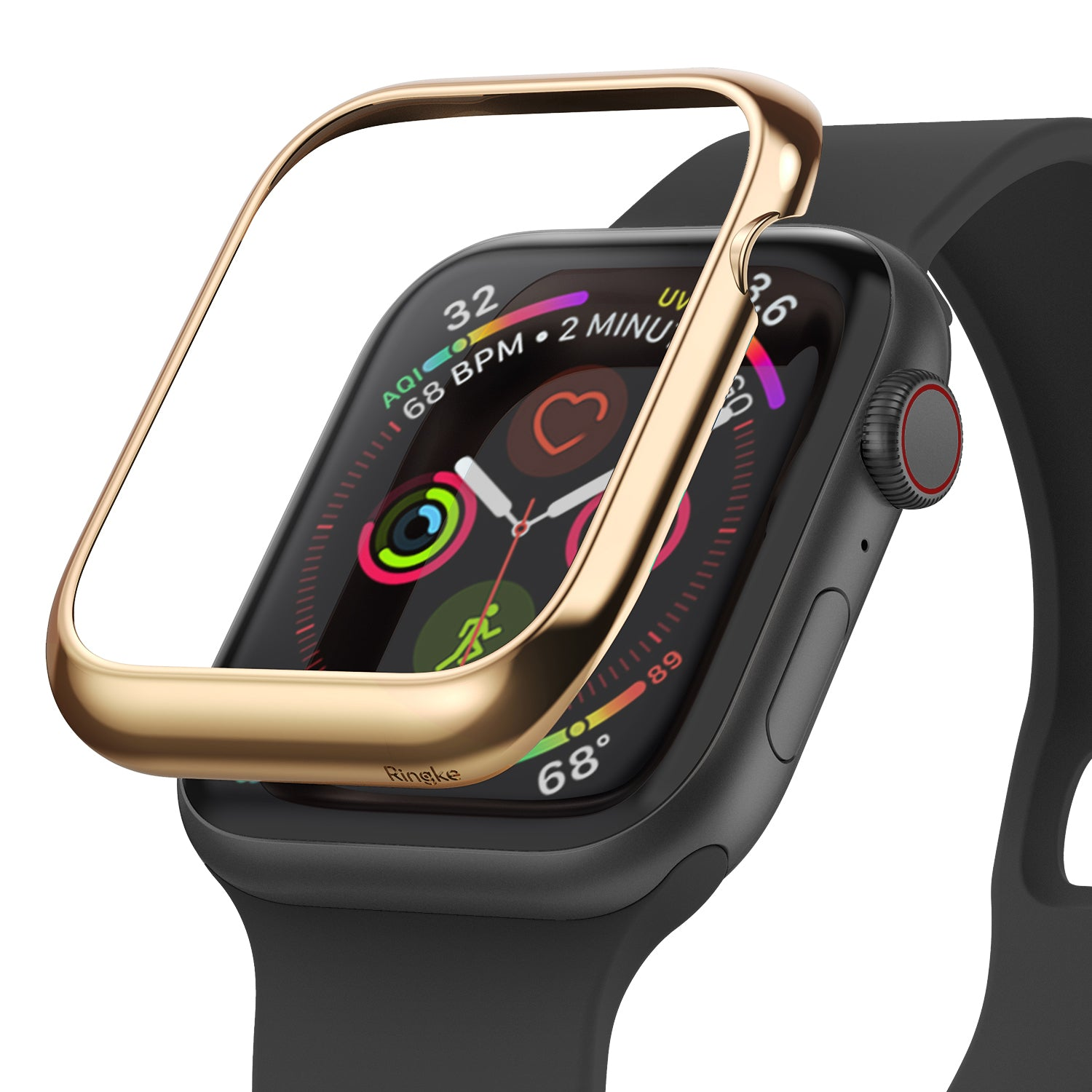ringke bezel styling 40-05 glossy gold stainless steel on apple watch series 6 / 5 / 4 / SE 40mm