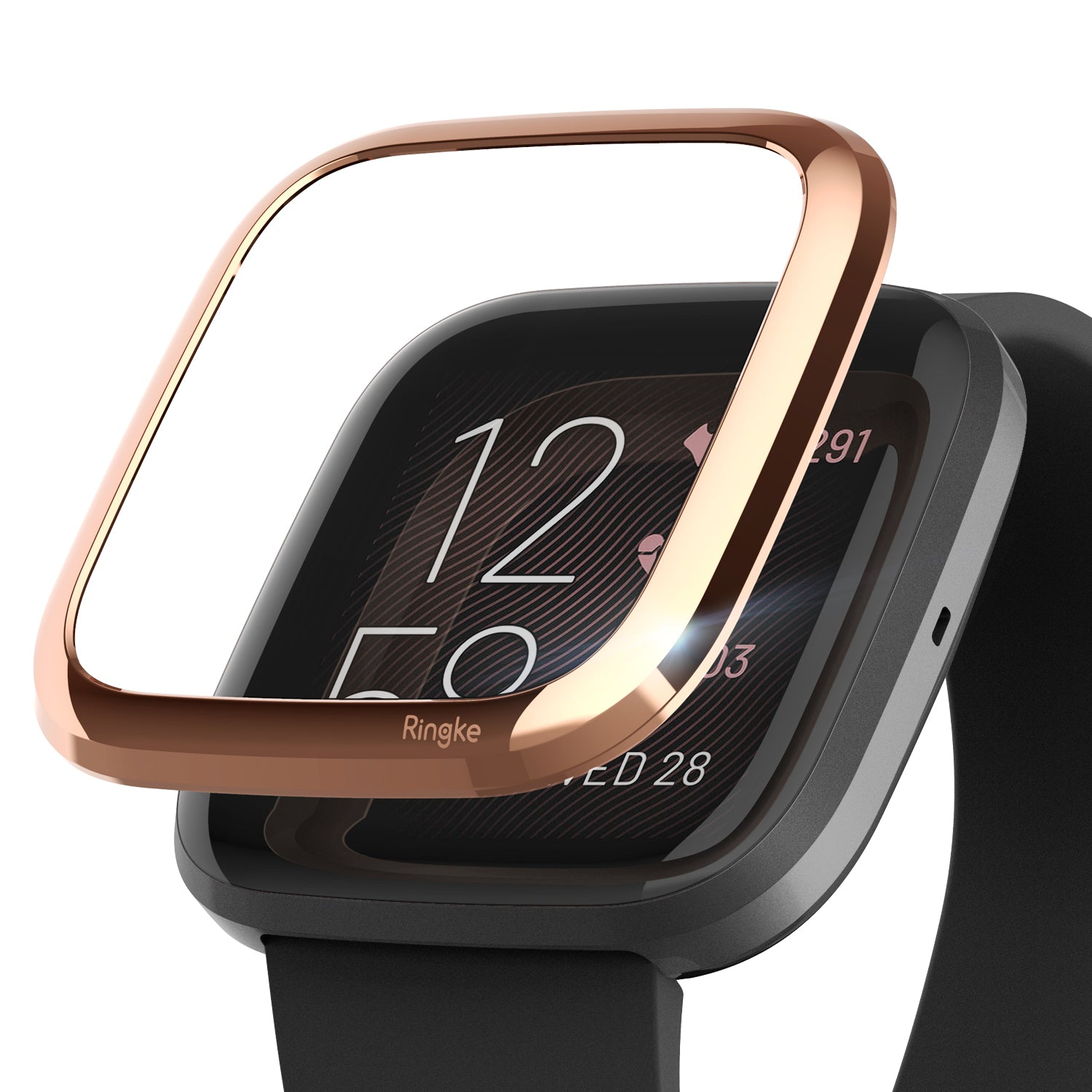 Ringke Bezel Styling Fitbit Versa 2, Full Stainless Steel Frame, Rose Gold, Stainless Steel, 2-02 ST