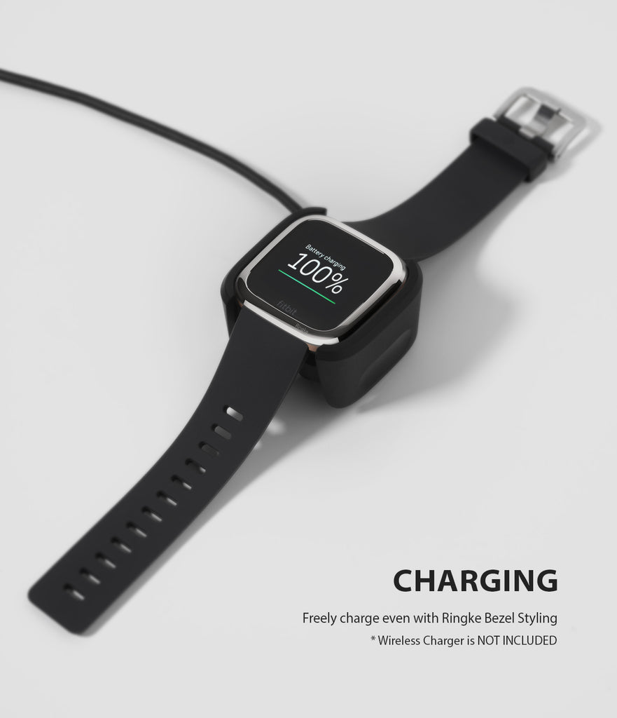 Ringke Bezel Styling Fitbit Versa 2, Full Stainless Steel Frame, Glossy Silver, Stainless Steel, 2-01 ST, compatible with wireless charger