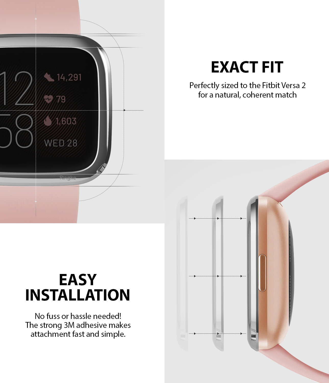 Ringke Bezel Styling Fitbit Versa 2, Full Stainless Steel Frame, Glossy Silver, Stainless Steel, 2-01 ST, exact fit