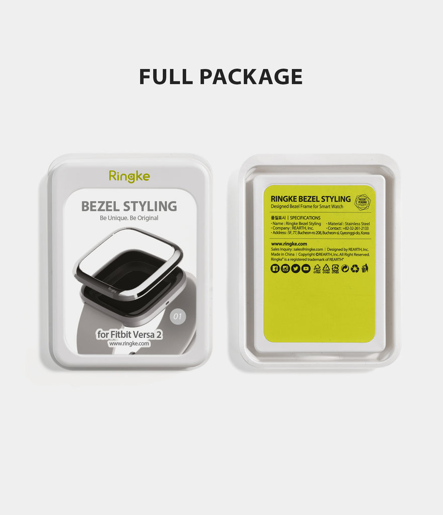 Ringke Bezel Styling Fitbit Versa 2, Full Stainless Steel Frame, Glossy Silver, Stainless Steel, 2-01 ST, minimal package