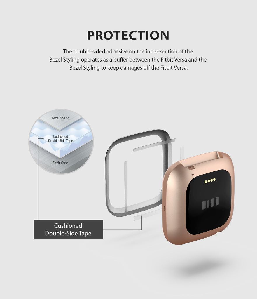Ringke Bezel Styling Fitbit Versa 2, Full Stainless Steel Frame, Glossy Silver, Stainless Steel, 2-01 ST, protection
