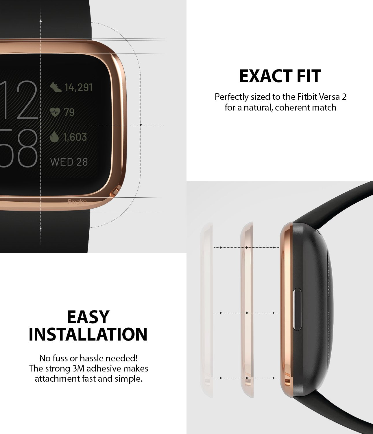 Ringke Bezel Styling Fitbit Versa 2, Full Stainless Steel Frame, Rose Gold, Stainless Steel, 2-02 ST,exact fit