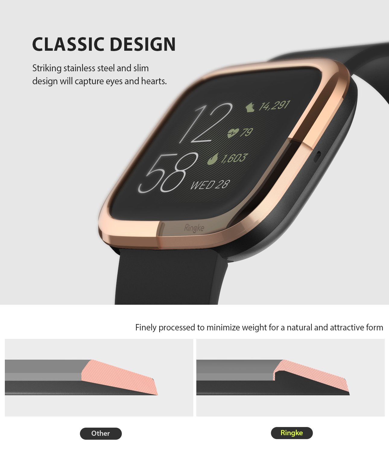 Ringke Bezel Styling Fitbit Versa 2, Full Stainless Steel Frame, Rose Gold, Stainless Steel, 2-02 ST,classic design