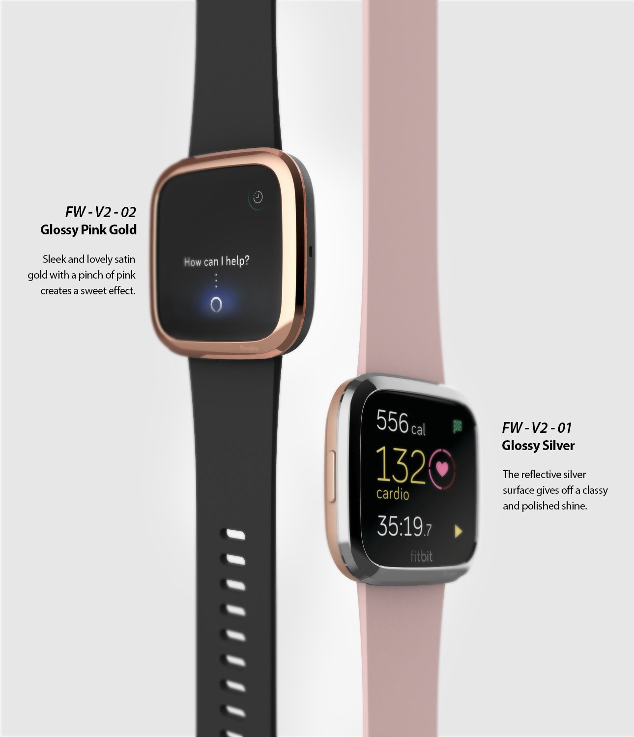 Ringke Bezel Styling Fitbit Versa 2, Full Stainless Steel Frame, Rose Gold, Stainless Steel, 2-02 ST,rose gold, glossy silver