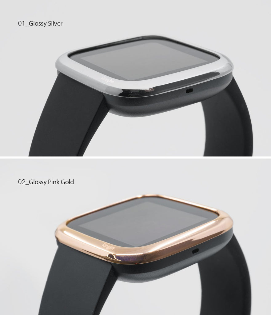 Ringke Bezel Styling Fitbit Versa 2, Full Stainless Steel Frame, Rose Gold, Stainless Steel, 2-02 ST, glossy silver, rose gold