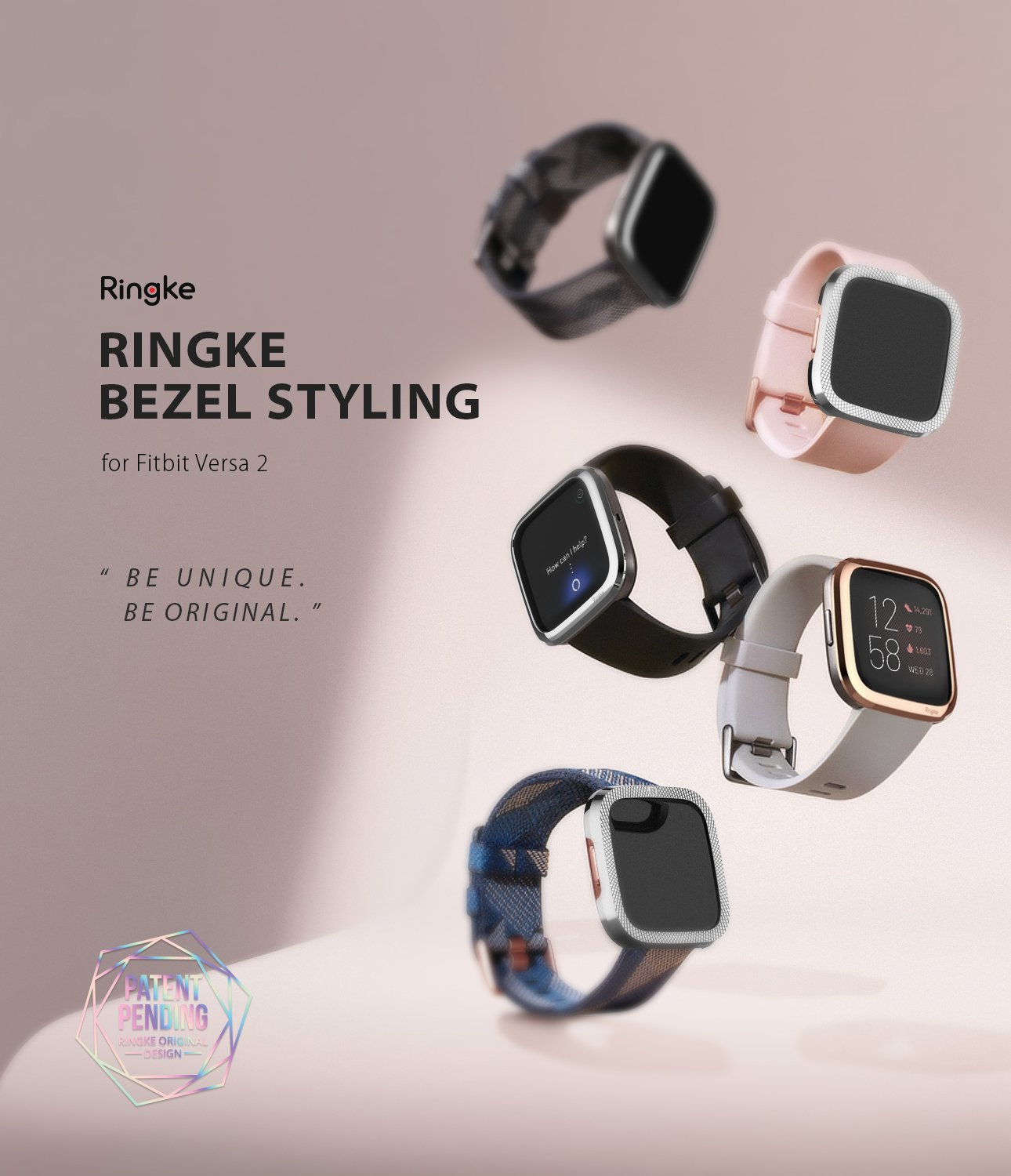 Ringke Bezel Styling Full Stainless Steel Frame Case for Fitbit Versa 2, Silver, 2-42 ST, Knurling Engraved Design
