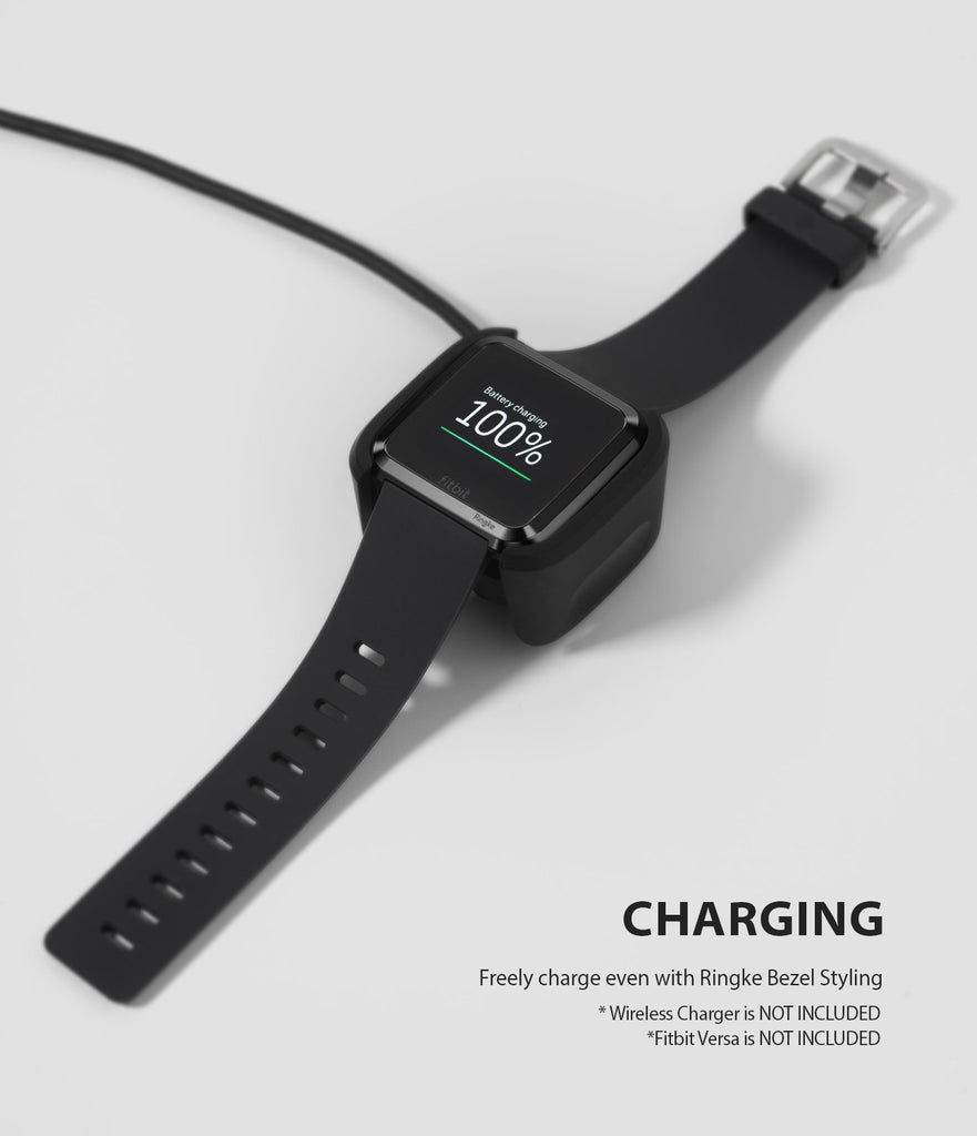 Ringke Bezel Styling Designed for Fitbit Versa Case Cover, Black- FW-V-03, wireless charger compatible