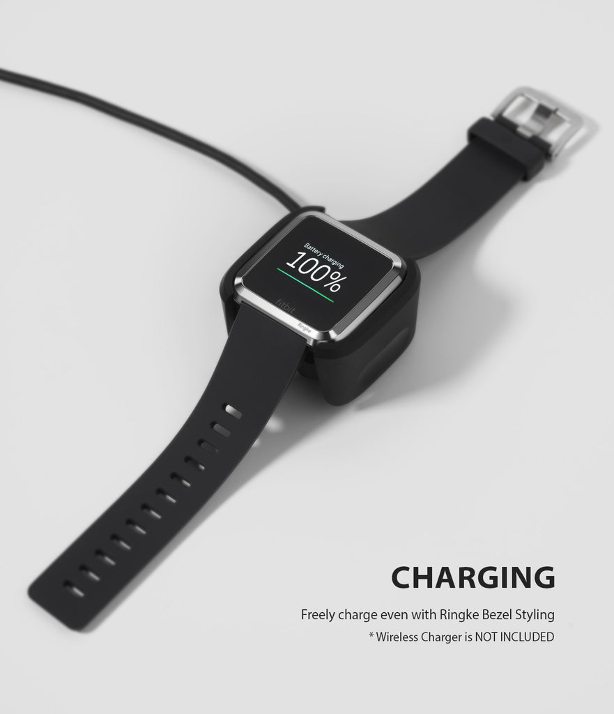 Ringke Bezel Styling Designed for Fitbit Versa Case Cover -Silver, FW-V-01, wireless charging compatible