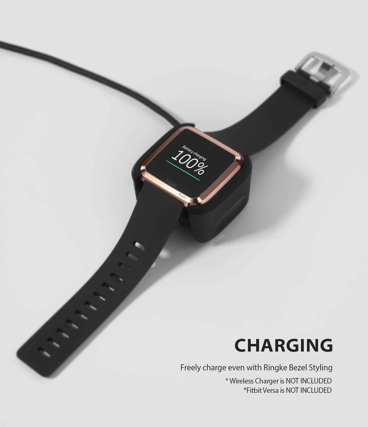 Ringke Bezel Styling Designed for Fitbit Versa Case Cover, Rose Gold - FW-V-02, wireless charger compatible