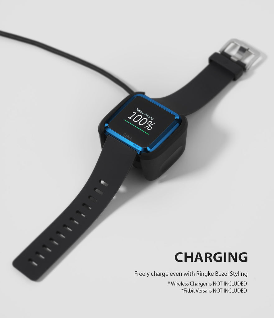 Ringke Bezel Styling Designed for Fitbit Versa Case Cover, Blue - FW-V-04, wireless charging compatible