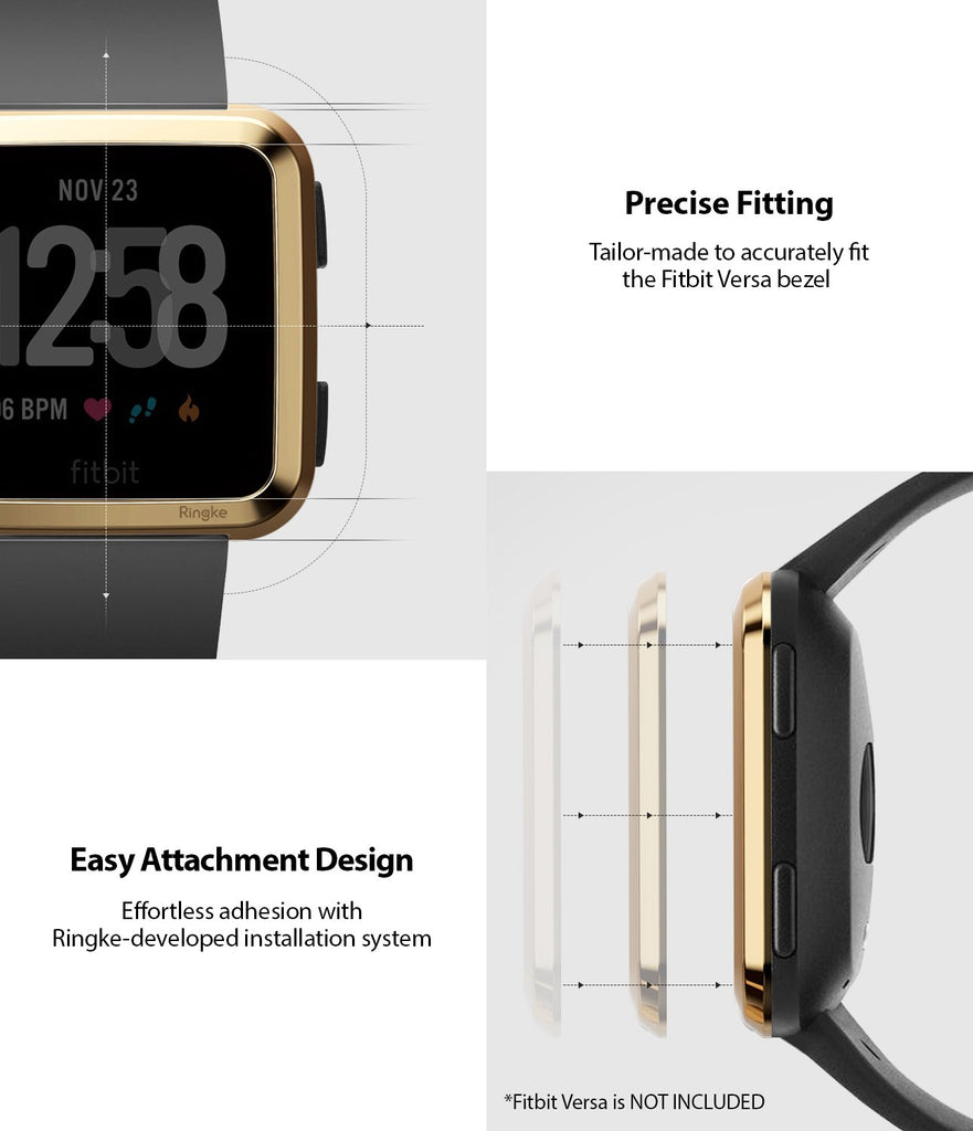 Ringke Bezel Styling Designed for Fitbit Versa Case Cover, Gold - FW-V-05, exact fit