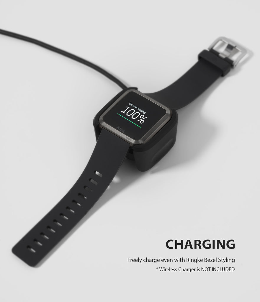 Ringke Bezel Styling Designed for Fitbit Versa Case Cover, Gray - FW-V-06, wireless charging compatible