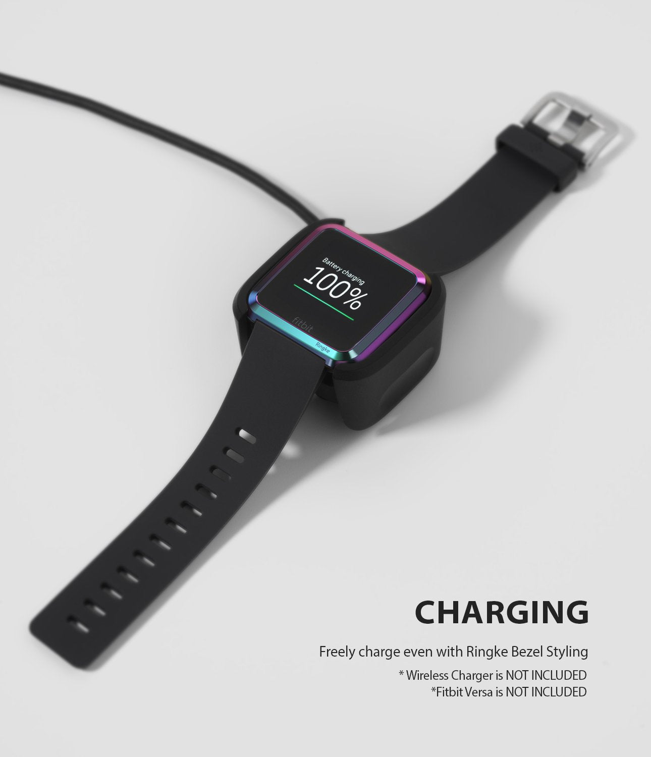 Ringke Bezel Styling Designed for Fitbit Versa Case Cover, Neo Ghrome- FW-V-08, wireless charger compatible