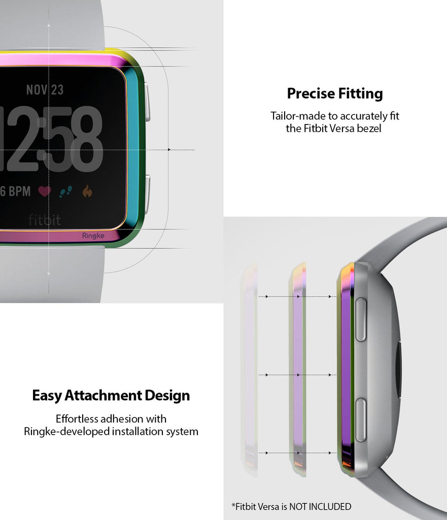 Ringke Bezel Styling Designed for Fitbit Versa Case Cover, Neo Ghrome- FW-V-08, exact fit