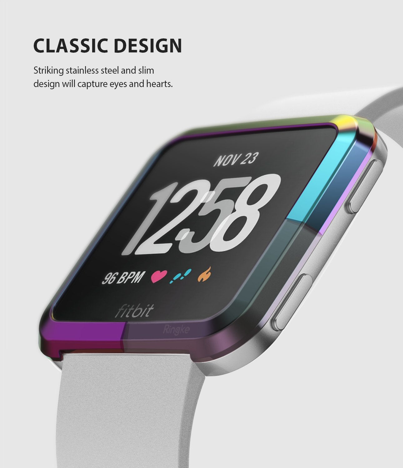 Ringke Bezel Styling Designed for Fitbit Versa Case Cover, Neo Ghrome- FW-V-08, classic design