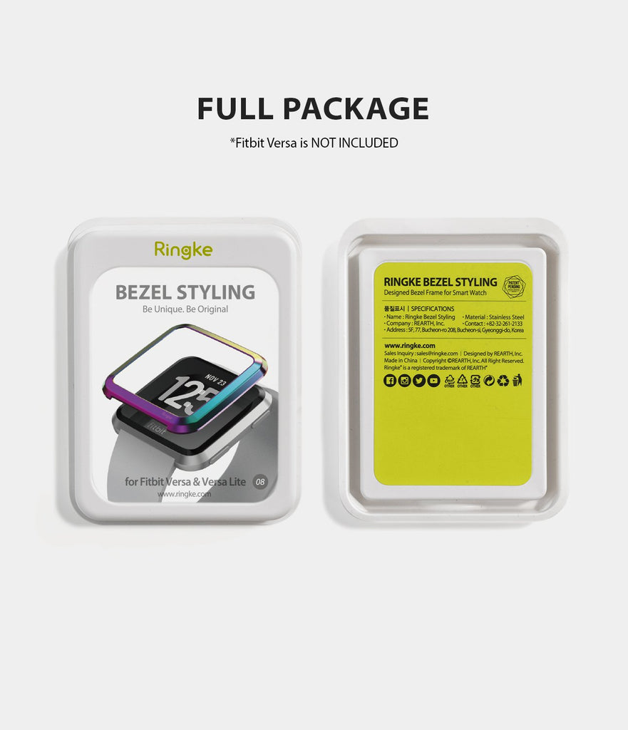 Ringke Bezel Styling Designed for Fitbit Versa Case Cover, Neo Ghrome- FW-V-08, minimal package
