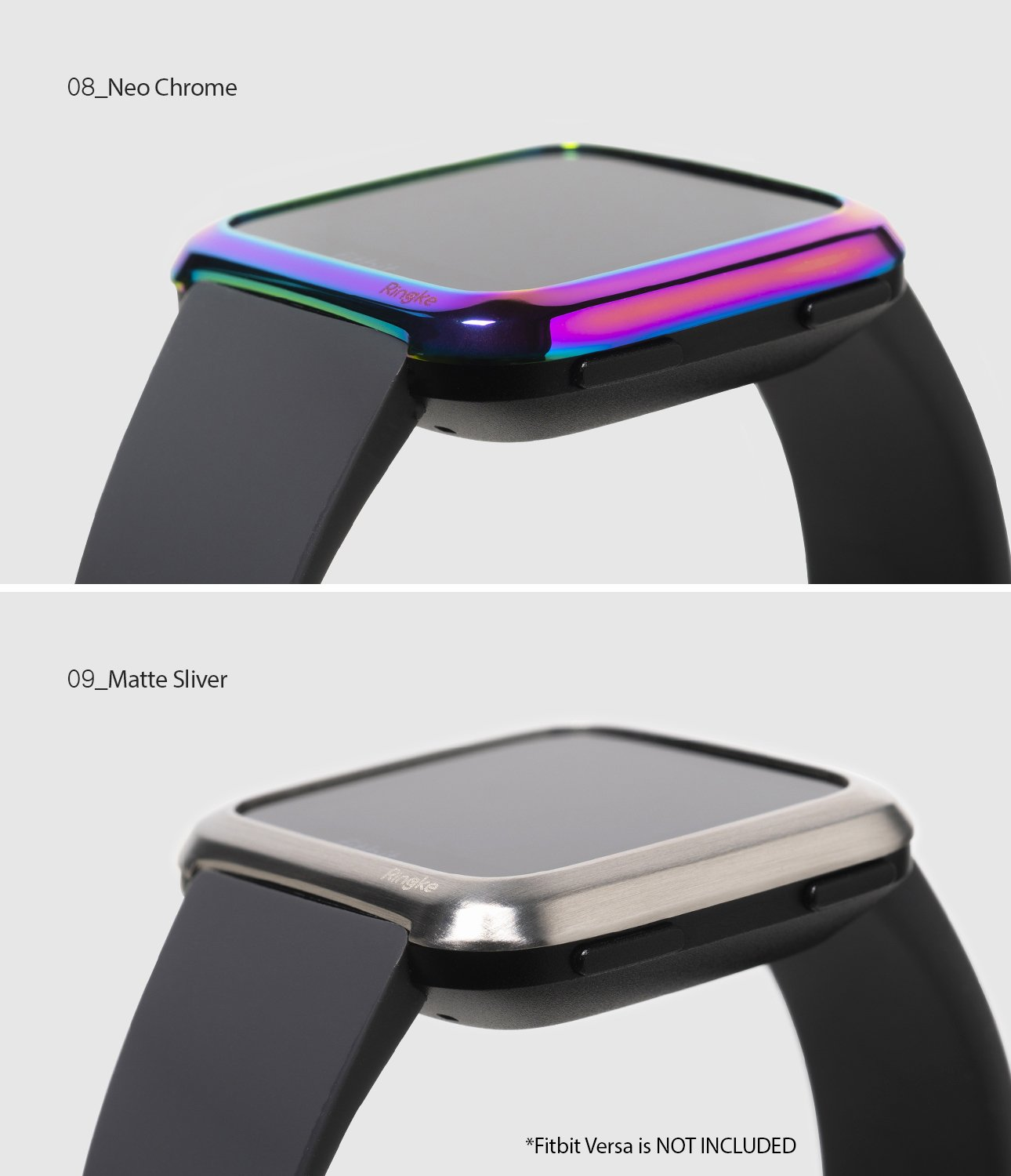 Ringke Bezel Styling Designed for Fitbit Versa Case Cover, Neo Ghrome- FW-V-08, matte silver