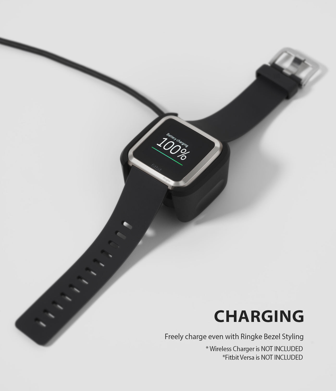 Ringke Bezel Styling Designed for Fitbit Versa Case Cover, Silver- FW-V-09, wireless charging compatible