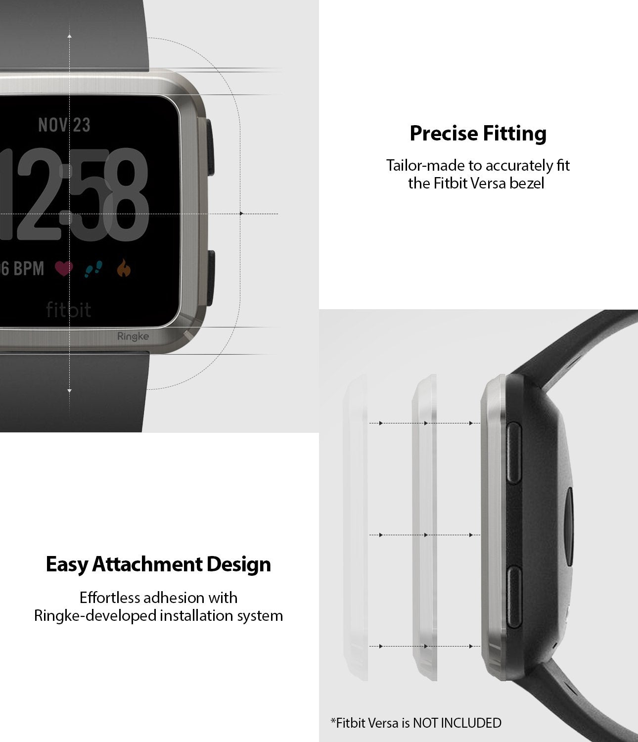 Ringke Bezel Styling Designed for Fitbit Versa Case Cover, Silver- FW-V-09, exact fit