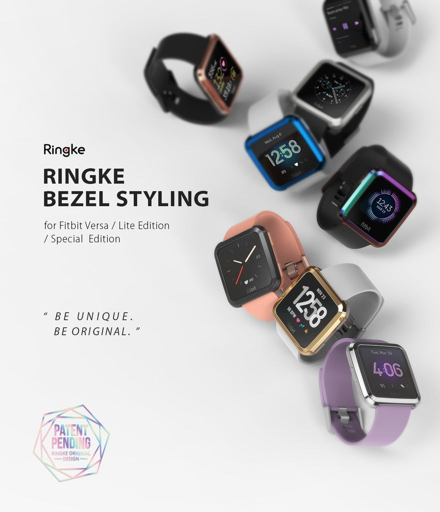 Ringke Bezel Styling Designed for Fitbit Versa Case Cover -Silver, FW-V-01