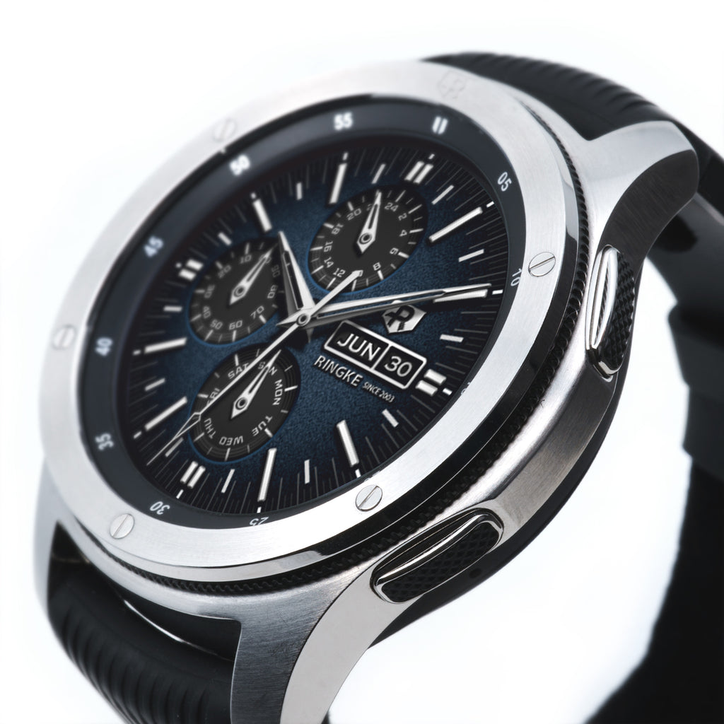 silver stainless steel classic style ringke bezel styling for samsung galaxy watch 46mm, gear s3 frontier and classic