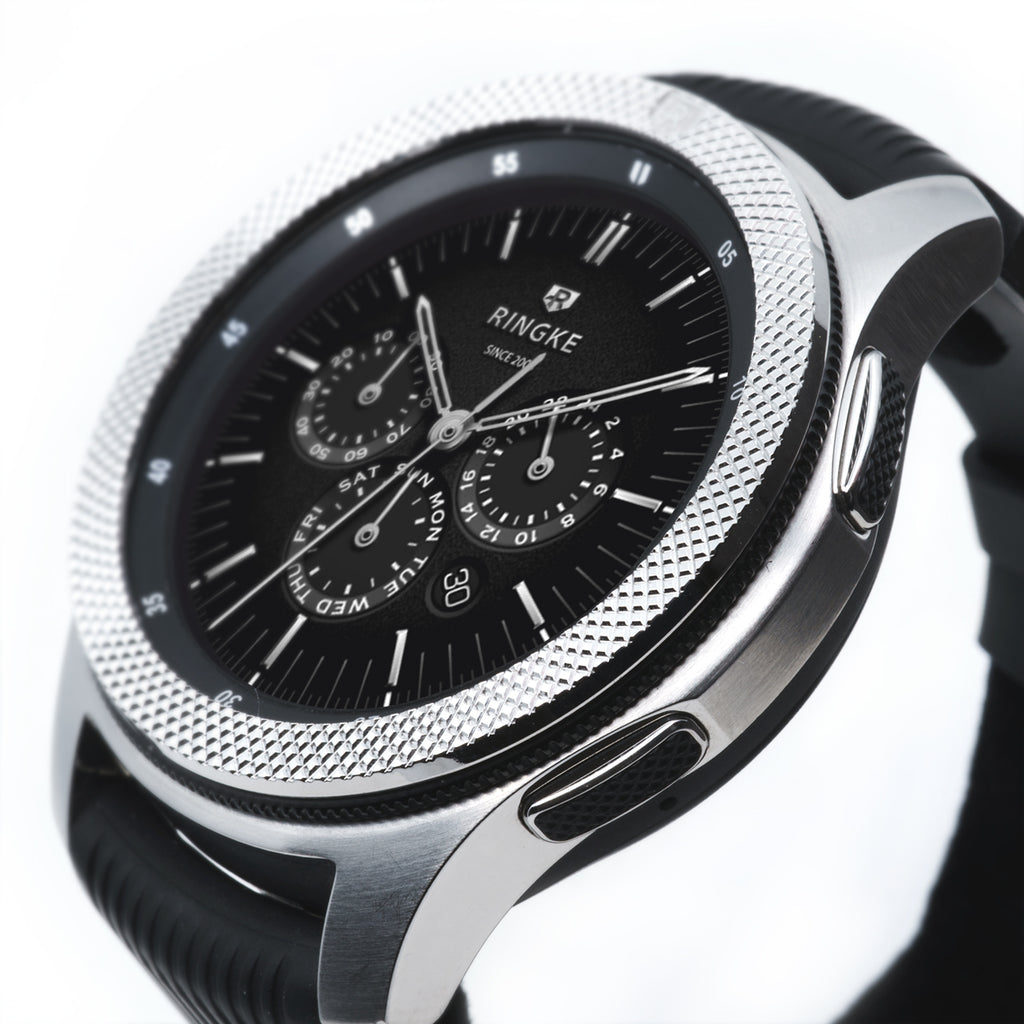 polished silver stainless steel ringke bezel styling for galaxy watch 46mm, gear s3 frontier and classic