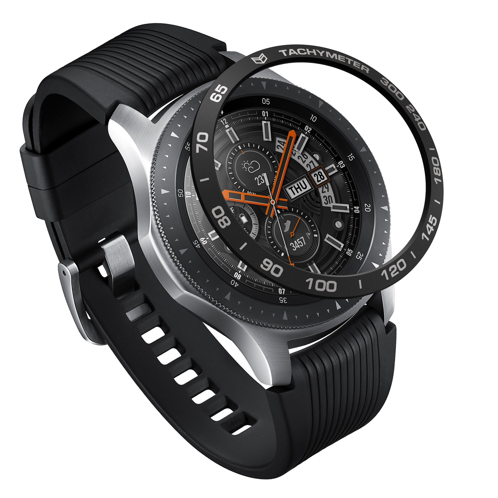 ringke bezel styling aluminium black for galaxy watch 46mm, gear s3 frontier and classic