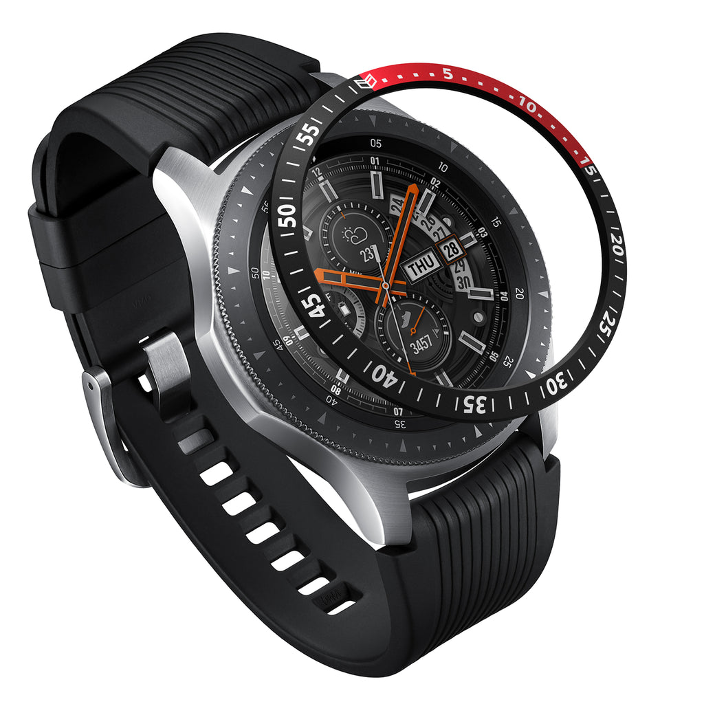 ringke bezel styling for galaxy watch 46mm aluminium black and red