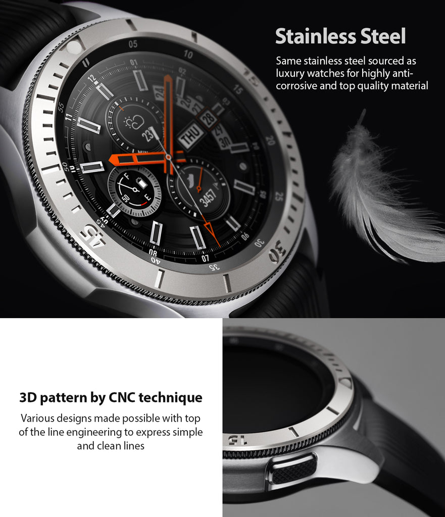 ringke bezel styling for samsung galaxy watch made from stainless steel with 3d pattern by cnc technique for long lasting use