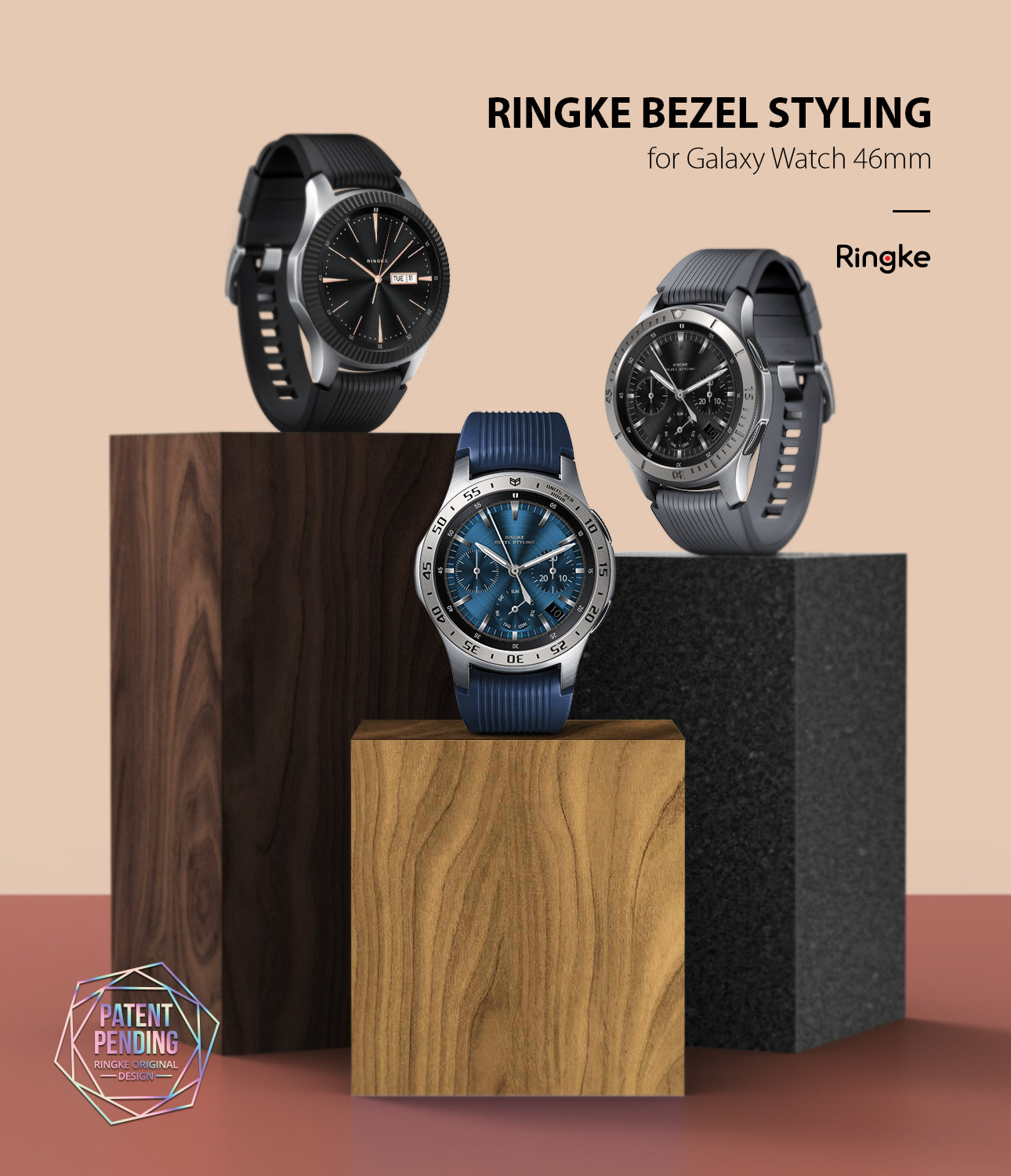 ringke bezel styling stainless steel designed for galaxy watch 46mm, galaxy watch gear s3 frontier and cleassic