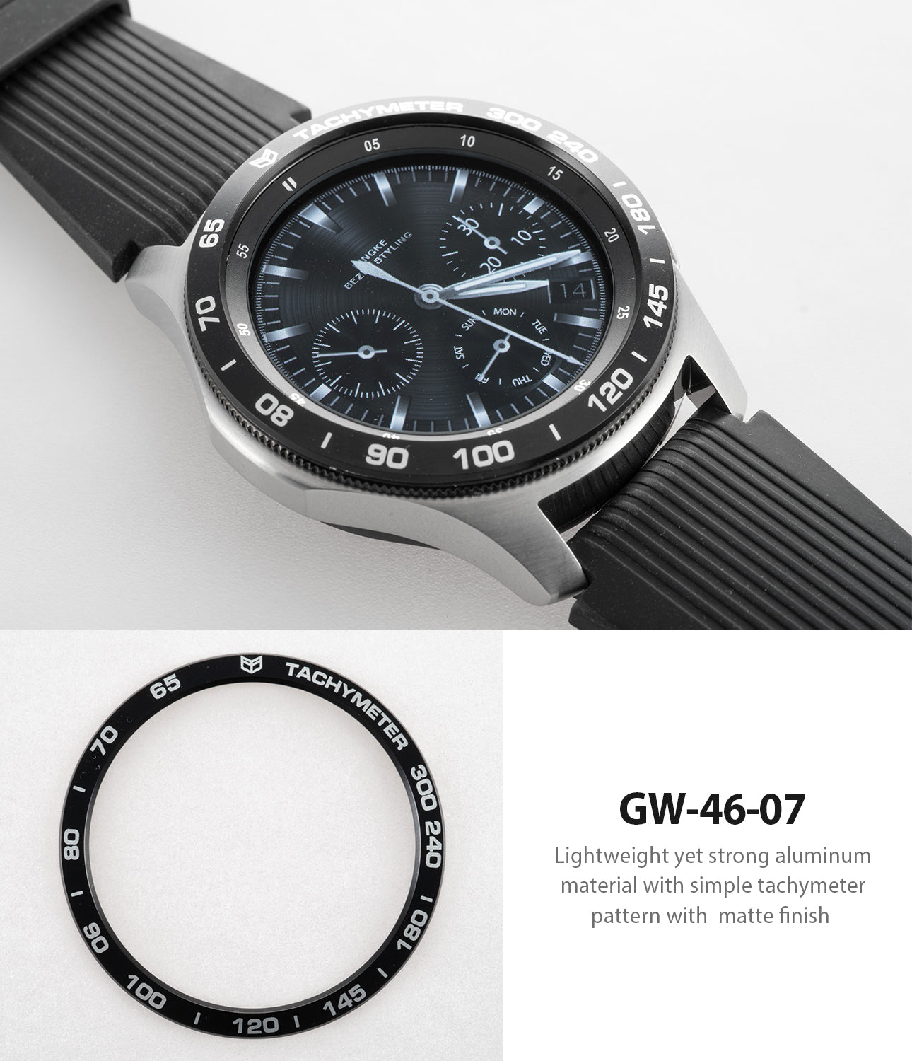 lightweight yet strong aluminum material with simple tachymeter pattern with matte finish