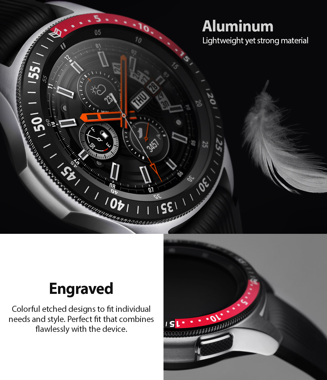 craftily inked on aluminum bezel styling made to fit perfectly on galaxy watch 46mm