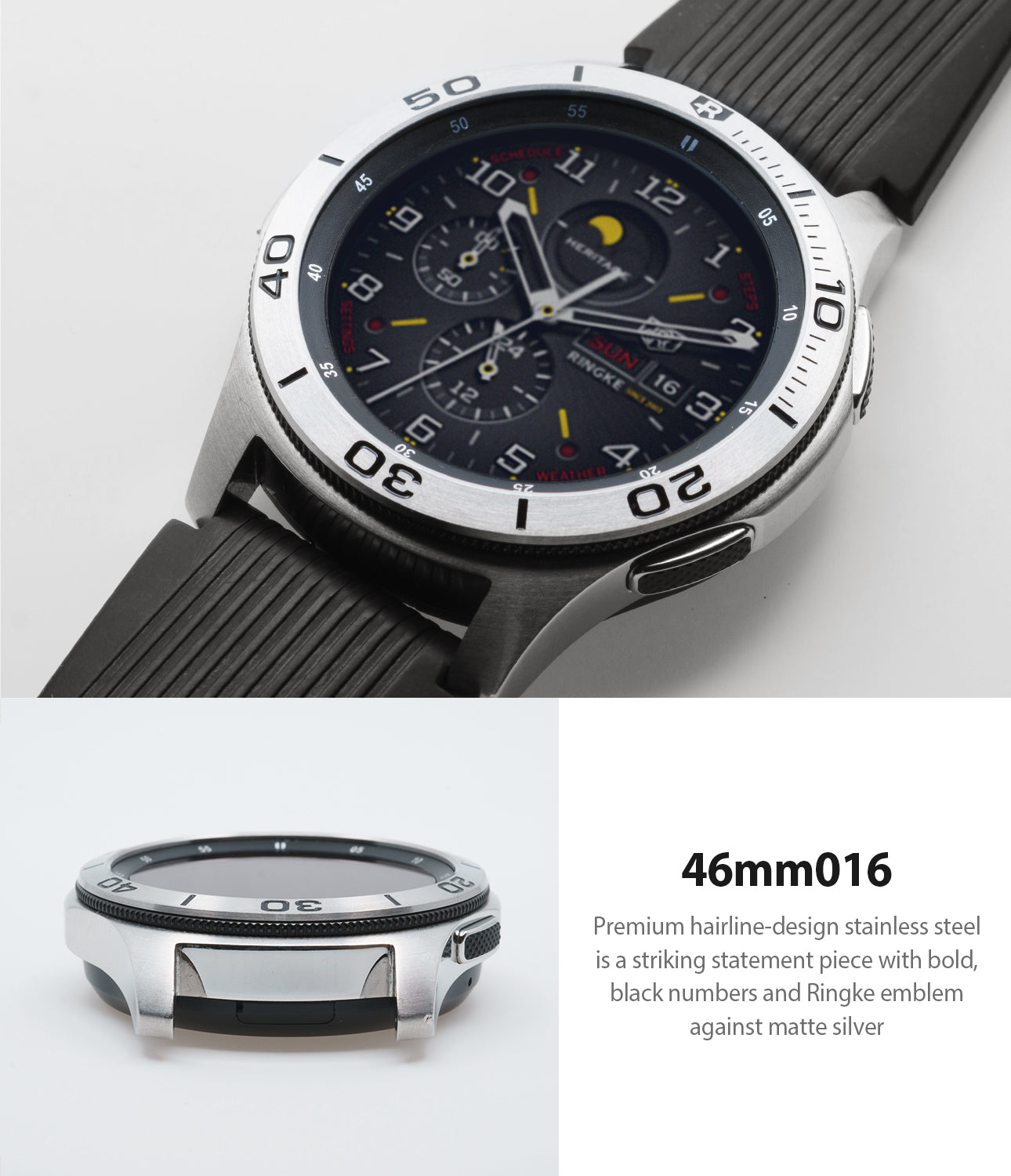 premium hairline design stainless steel with bold black number markings with ringke emblem against matte silver