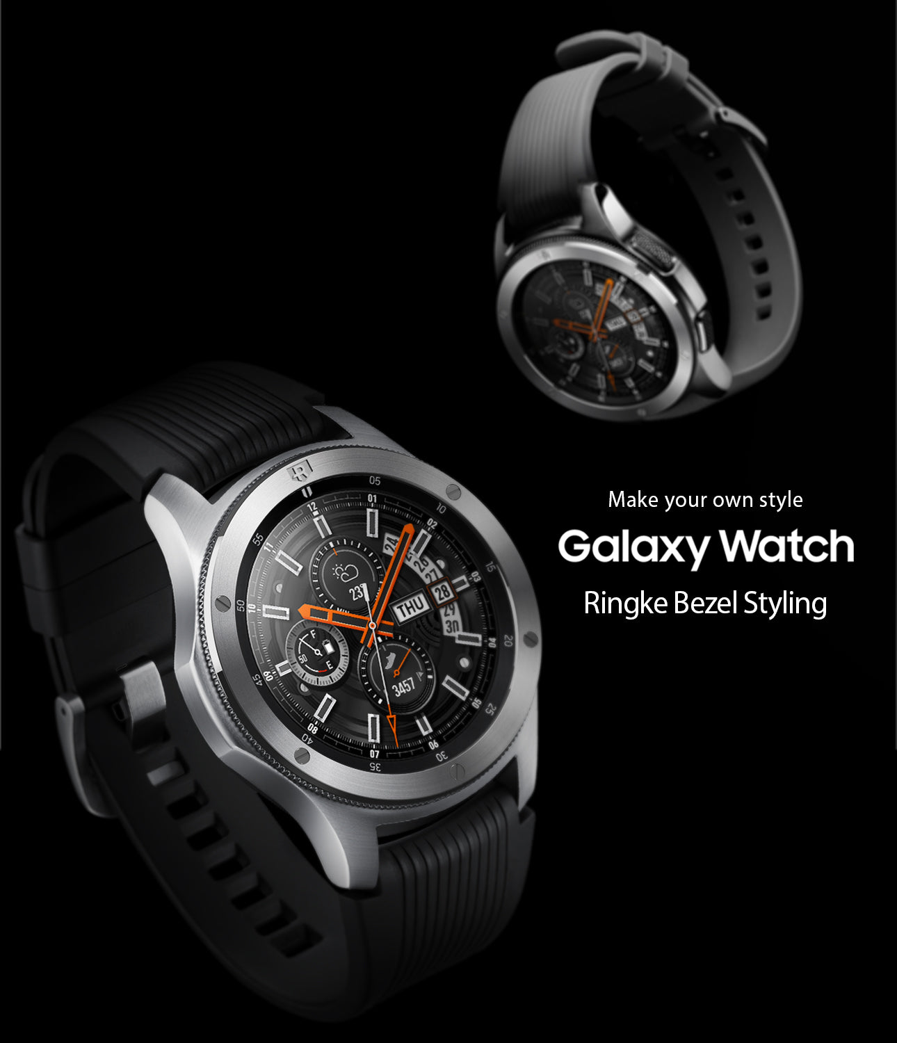 made with high quality stainless steel, ringke bezel styling fits right on the existing bezel of galaxy watch