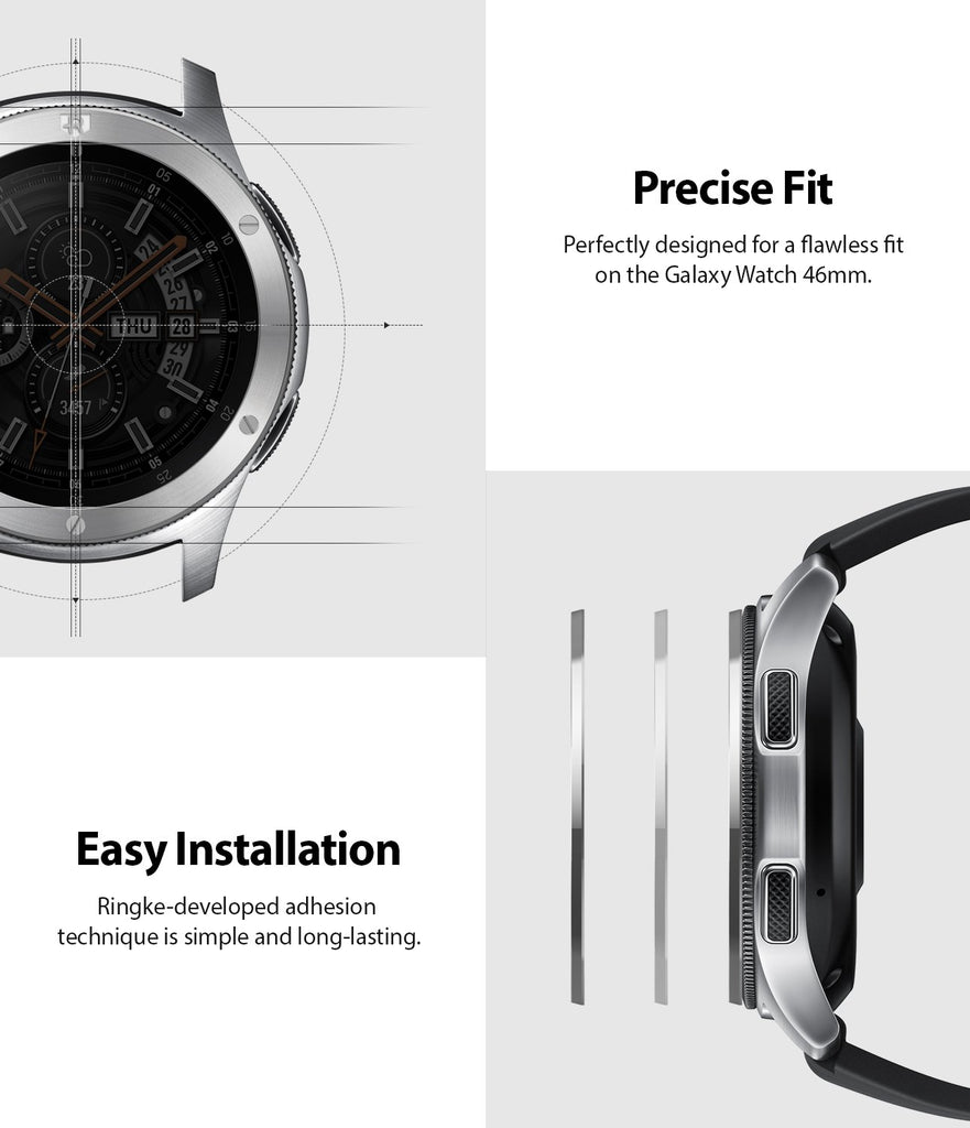 perfectly designed for a flawless fit on the galaxy watch 46mm, gear s3 frontier and classic allows easy installation with strong 3m adhesive