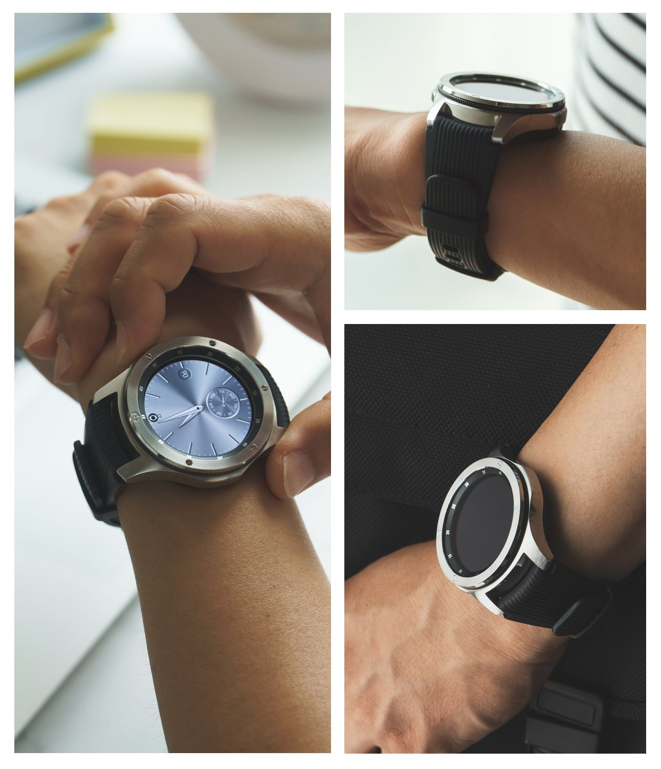 a man wearing a galaxy watch 46mm with the ringke bezel styling on